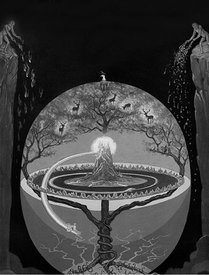 """Manly P. Hall - World-Tree, """"The Secret Teachings of All Ages"""", 1928. Ancient cosmologies tell of a magnificent World-Tree that grows at the centre of the Universe and encompasses all realms of existence: its stem pierces through the world of human..."""