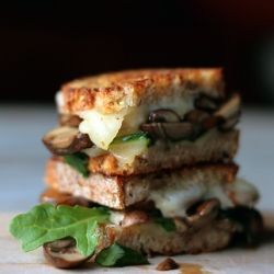 Butter Sauteed Mushrooms and Swiss Grilled Cheese Sandwich