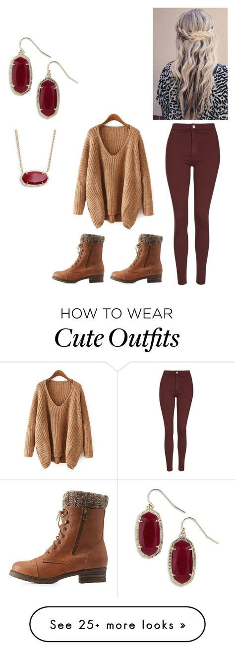 """""""Cute winter outfit"""" by peightonburns on Polyvore featuring Topshop, Charlotte Russe and Kendra Scott"""