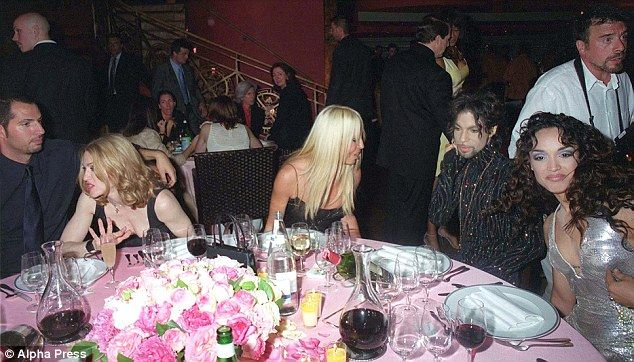 With Donatello Versace are Madonna, Prince & wife Mayte.