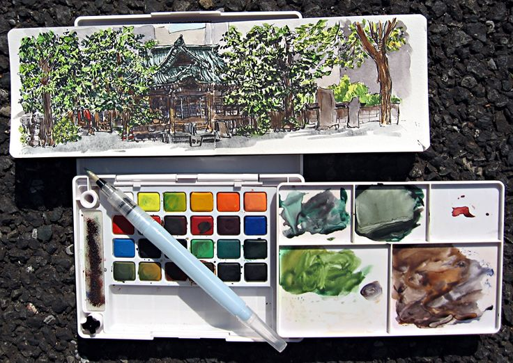 I LOVE this portable water brush. It holds water in it's body and you need to squeeze it to release water and mix it with paints to use. Very useful to have a quick watercolor sketch.   Sakura Koi Watercolour Field Sketch Set