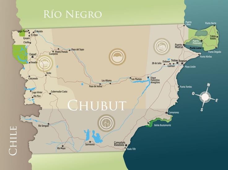 Mapa Chubut Rutas y Localidades