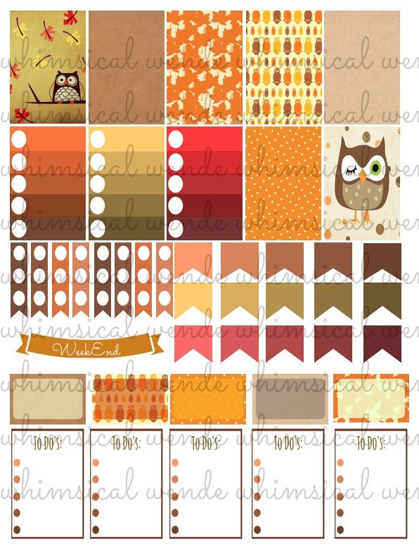 Free Fall Owl PRINTABLE Planner Stickers Weekly Set/Kit