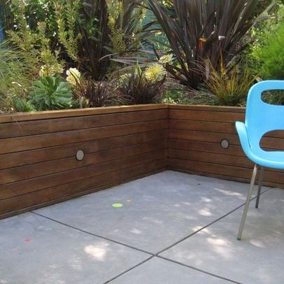 Redwood Retaining Wall With Concrete Patio