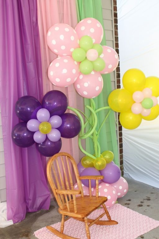 109 best baby shower balloon decor images on pinterest for Balloon decoration for baby girl