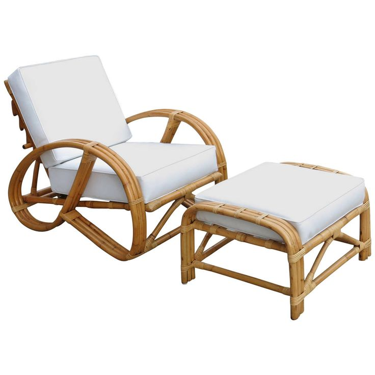 rare rebuilt rattan reclining lounge chair with 3 4 pretzel arms and ottoman rattan lounge. Black Bedroom Furniture Sets. Home Design Ideas