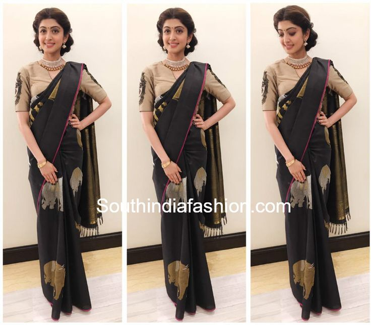 pranitha-subhash-black-elephant-motifs-saree-mysore-fashion-week.jpg (769×673)