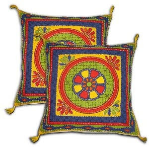 Pillow Covers Multicolor Set of 2 Embroidered Cotton Pillow Cases from India