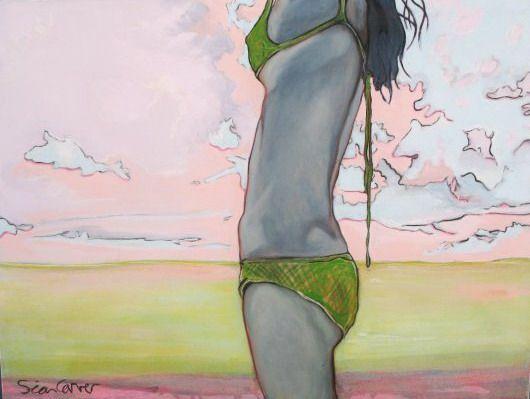 macrame beach girl canvas