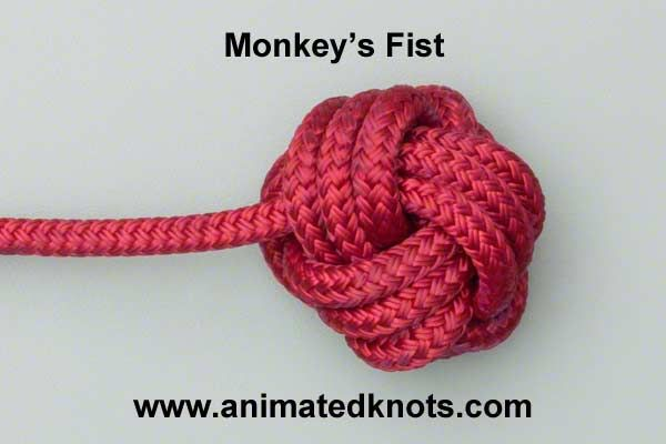 Monkey's fist knot. Using this as a closure on my next bracelet. Cool knot site in general.