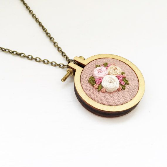 Embroidered Floral Mini Hoop Necklace, Handstitched, Floral Necklace