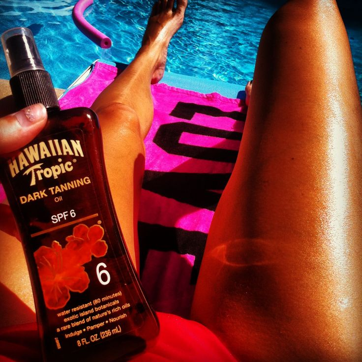 Hawaiian tropic tanning oil and the pool- love it!!