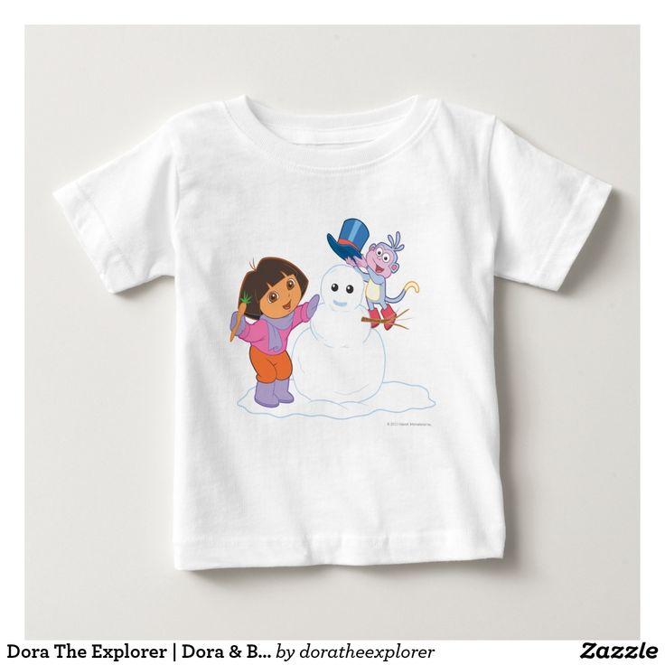 Dora The Explorer   Dora & Boots Make a Snowman. Producto disponible en tienda Zazzle. Vestuario, moda. Product available in Zazzle store. Fashion wardrobe. Regalos, Gifts. #camiseta #tshirt