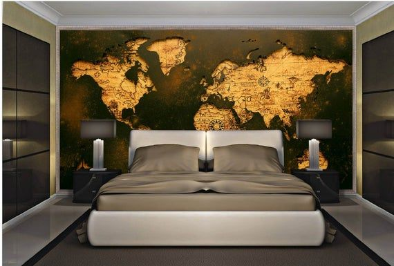 Retro Gothic World Map Wall Mural Modern Home Decor For Living Room Bedroom Entryway Cafe Vintageworldmap Wallcovering Map Wall Mural Home Decor Wall Murals
