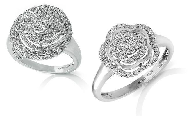 Anelli fantasia in oro bianco e diamanti taglio brillante.  Gioielleria F.lli Cappon Torino