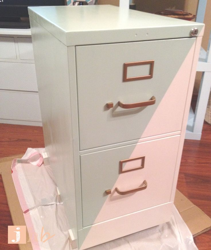 Painting the hardware gold or rose gold is a fantastic way to update a plain filing cabinet.