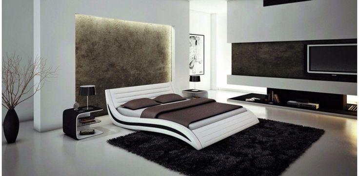 Blanco contemporáneo moderno de cuero suave cama muebles de dormitorio de matrimonio Hecho en China