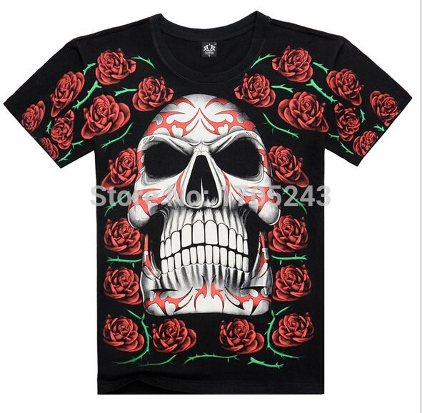 Find More T-Shirts Information about 2015 NEW  hot sale   3D full  Print  evil monster   summer  casual  T shirt , 100% cotton  rose knight skull    printing men Tee,High Quality shirt female,China tee t shirt Suppliers, Cheap shirts for men designer from Apollo fashion Collection  on Aliexpress.com