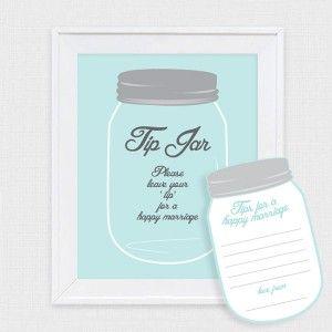 mason jar tip jar wedding guest book - printable file