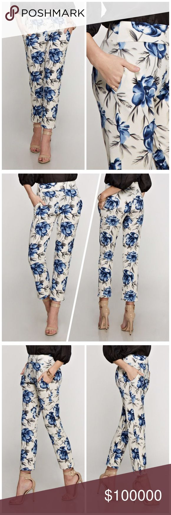 Floral ankle pants with banded waist and pockets! Pretty in blue floral - side pockets- banded waist - stretchy material ankle pants! Pants Ankle & Cropped