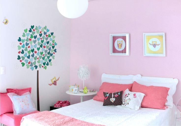 Decoração // Quarto para Menina // Adesivo de Parede // Árvores de Flores // Cores: Rosa e Branco