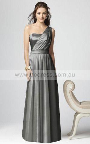 Elastic Woven Satin One Shoulder Natural A-line Floor-length Bridesmaid Dresses 0740358--Hodress