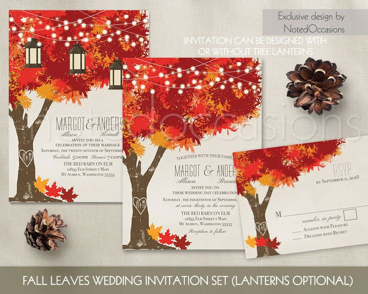 Fall Wedding Invitations Autumn Oak Tree Wedding With Rustic