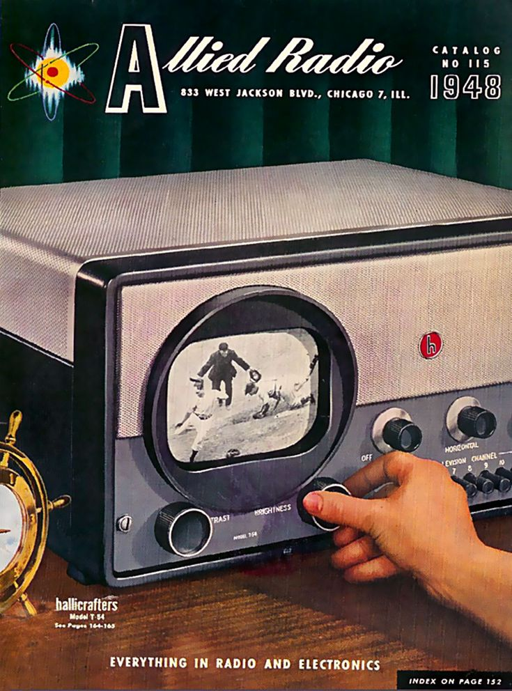 Allied Radio - with built in screen! 1948 #vintage #ads #graphicdesign