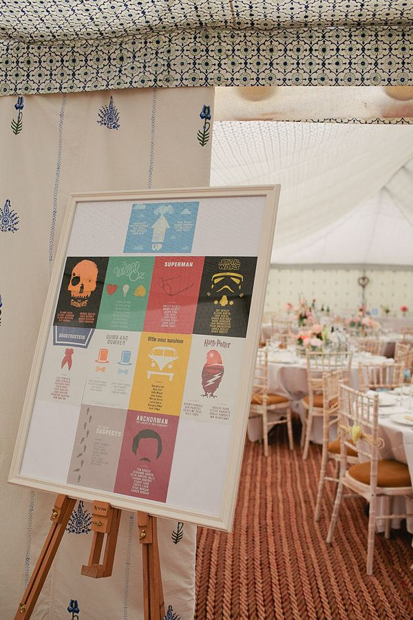 Movie table plan - all the tables were named after the couples favourite movies.  From 'A Seafoam Green and Soft Coral Inspired Colourful Wedding'.    Photography by http://www.tarahcoonan.com/