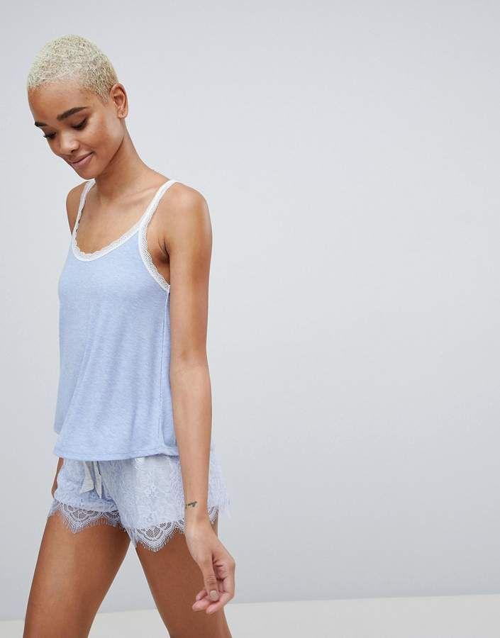 8a79477d69 Cami A-line Lace Trim Pajama Top