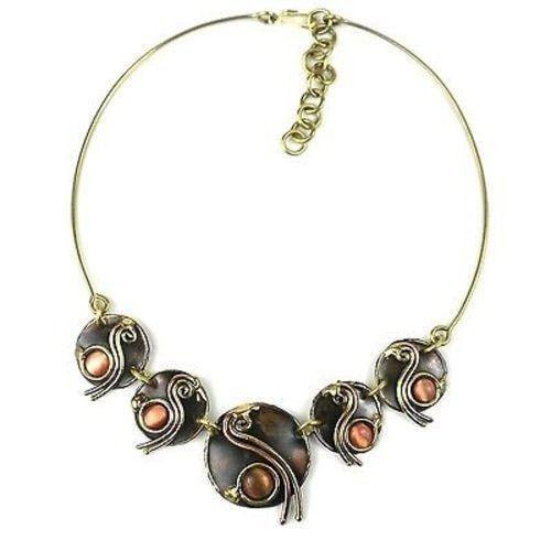 Peach Tiger Eye Swirl Brass Necklace - Brass Images (N)