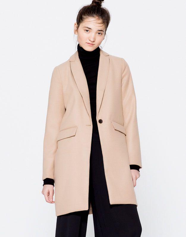 Pull&Bear - dames - kleding - mantel - wollen jas met mannelijke pasvorm - zwart - 09750305-I2016