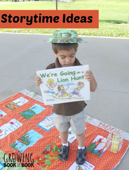 Storytime ideas for We're Going a Lion Hunt including how to make a safari hat!
