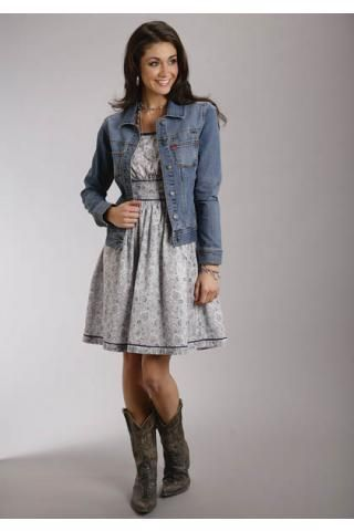 Women's Blue Puzzle Paisley Print Cami Dress Stetson Ladies Col Western Clothing
