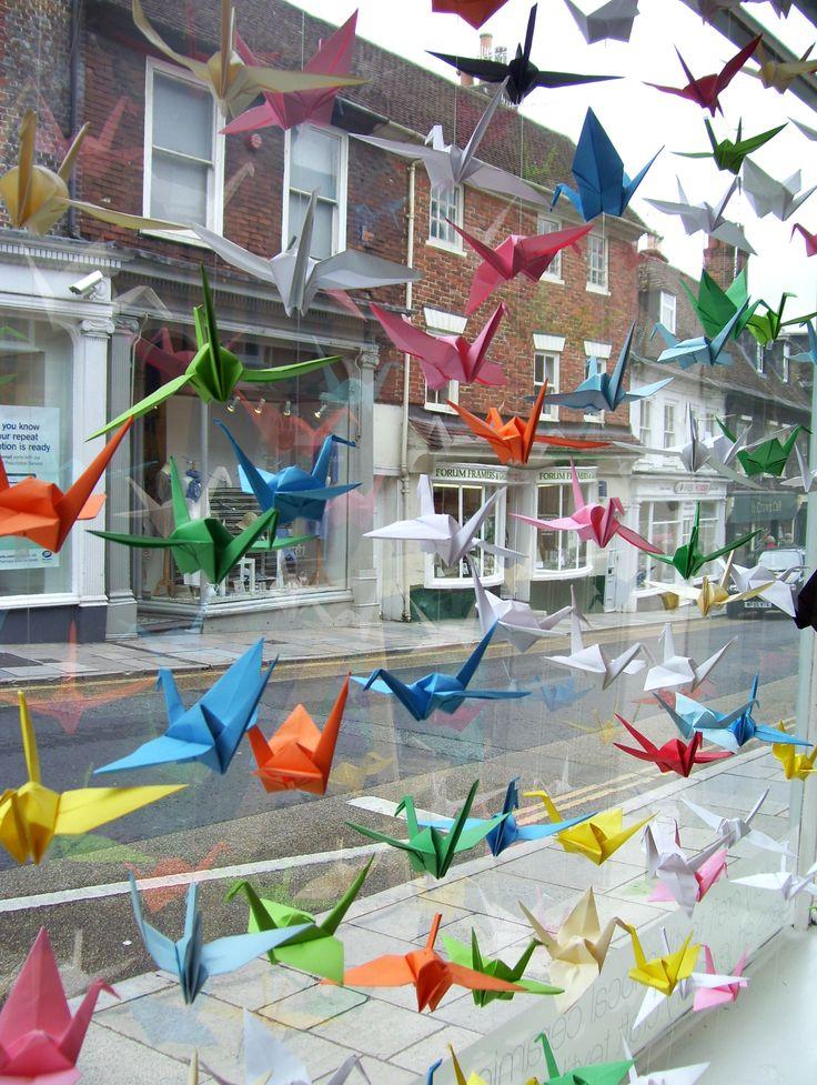 Origami crane window display at Hawthorn