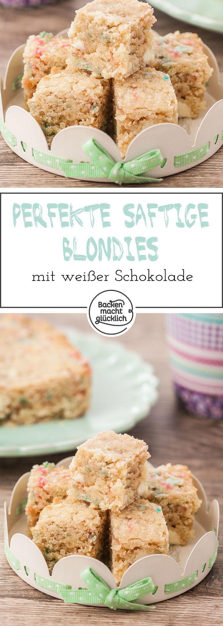 Tolles Rezept für saftige, üppige und cremige Blondies mit weißer Schokolade. Die Blondies können mit  bunten Streuseln oder Macadamia-Nüssen gebacken werden.