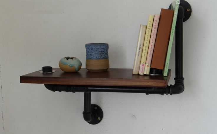 Iron pipes American country clothing store shelves shelving wall mount wall cafe retro flower