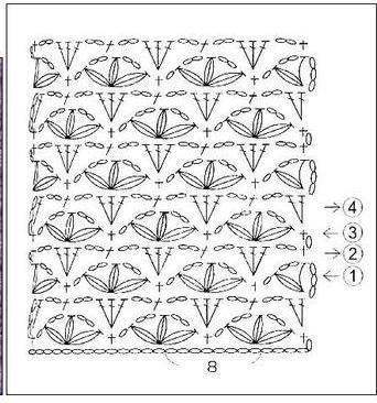 Схема вязания крючком узора - объемные цветочки