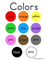 This is a printable color  chart featuring the color  word written across each  colored circle.  Red,  Orange, Yellow, Green,  Blue, Purple, Pink White.   This is a printable minibook for children to learn their  colors.  The full color version is great to read with children,  and the black and white version makes a great coloring  activity.