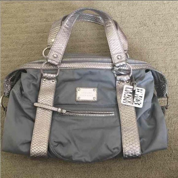ONE DAY SALEARMANI EXCHANGE TOTE Used! Excellent condition. No tears or rips. Color: gray. Nylon material. Soft and light handbag. Armani Exchange Bags Shoulder Bags