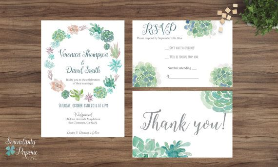 Succulent Wedding Invitation Printable by SerendipityPaperieCo