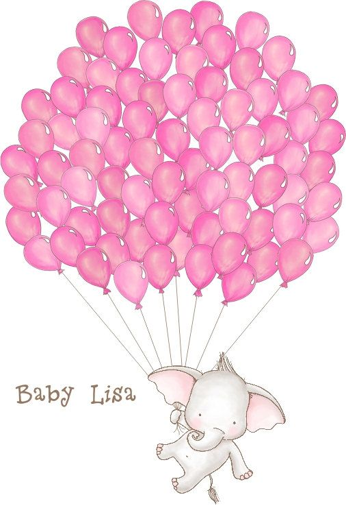 Baby Elephant Shower Guestbook Artwork DIGITAL FILE DOWNLOAD