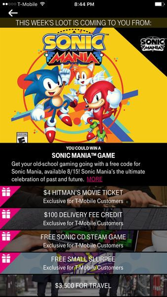 T-Mobile customers have a chance to win Sonic Mania tomorrow   If you have the T-Mobile app you might want to fire it up tomorrow. T-Mobile is offering the chance to win Sonic Mania on Switch with a special T-Mobile Tuesdays giveaway. Grab the app now and get ready to try your luck tomorrow! Thanks to Jacob for the heads up!  from GoNintendo Video Games