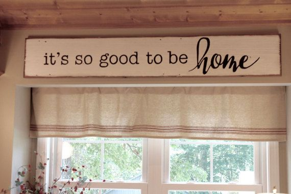 This hand painted reclaimed wood sign has Its so good to be Home, painted with black letters on a white painted piece of barn wood. The sign is then sanded for added character and then stained with a dark stain to give it an antiqued look. This sign approximately measures 46 x 9 inches. It comes with two sawtooth hangers ready to hang. If you would like to change the color or wording, please let me know so that I can work with you on creating a custom sign that will meet your needs…