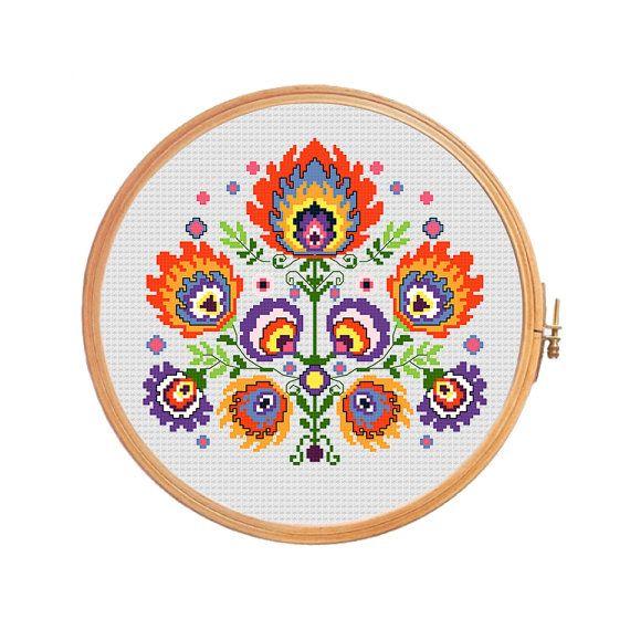 Bouquet of polish wycinanki flowers - modern cross stitch pattern - pillow flower geometric red ...