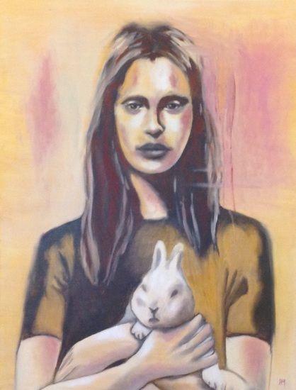 Portrait woman. Portret vrouw. Schilderij in olieverf.