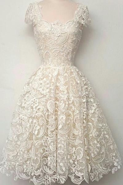 AHC064 Newest Cap Sleeves Ivory Lace Homecoming Dresses 2017