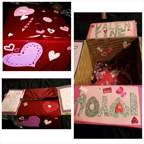 1 Year Anniversary Gifts For Him Pinterest : Took about 4 hours to make, cute valentines gift box for him or for ...