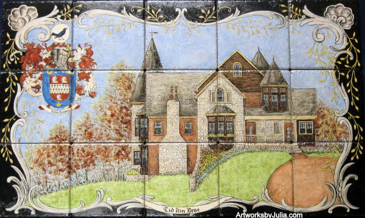 """""""Hoopes Heraldry and Home Portrait""""   House portrait and family heraldry with decorative cartouche border.      Custom designed decorative kitchen backsplash tile mural.   Hand painted on 6 x 6 inch porcelain tile.   Dimensions are: 30 inches wide x 18 inches high.    The inscription in the cartouche below the house is """"Tid Kin Brae"""" which is from the Scandinavian and Gaelic.   It roughly translates to """"Windy Hills""""."""