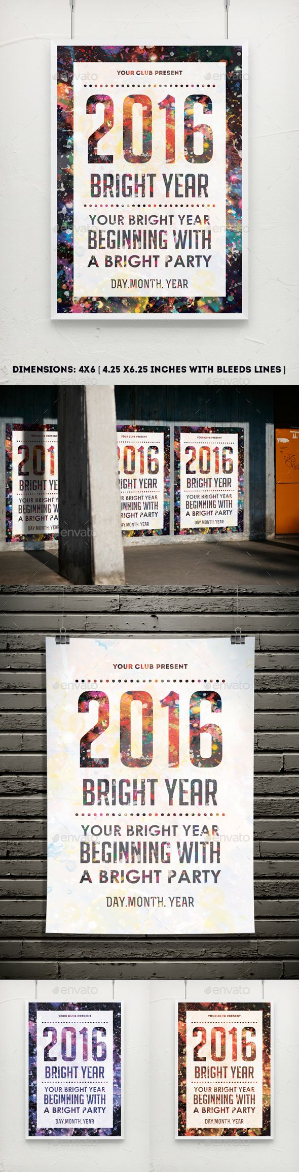 Poster design dimensions - Bright Year Party Poster Flyer Template